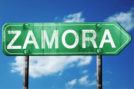 Zamora, 3D rendering, green grunge road sign Stok Fotoğraf - 56497980