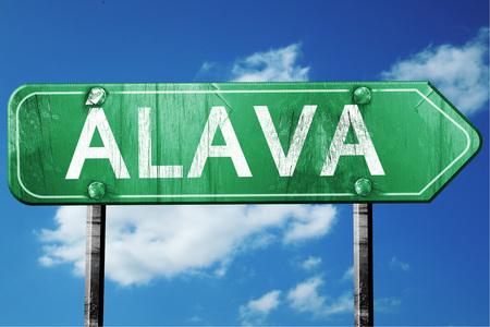 alava: Alava, 3D rendering, green grunge road sign