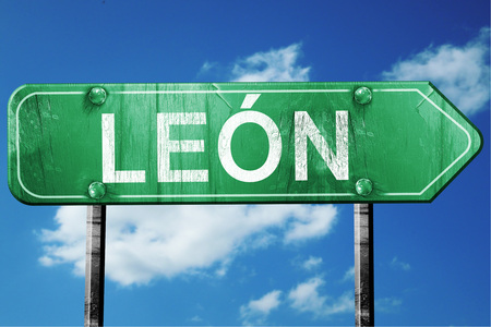 Leon, 3D rendering, green grunge road sign Stok Fotoğraf - 56497959