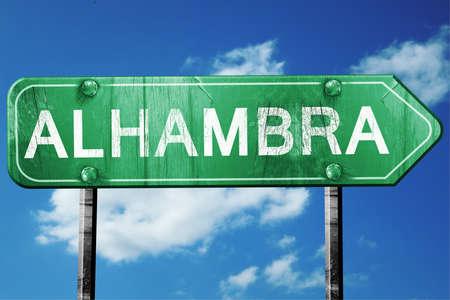 alhambra: Alhambra, 3D rendering, green grunge road sign