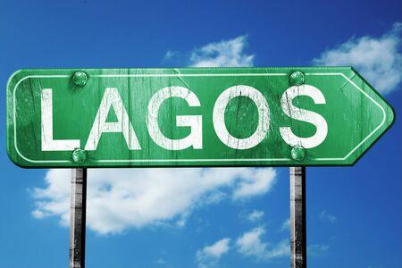 lagos: Lagos, 3D rendering, green grunge road sign Stock Photo