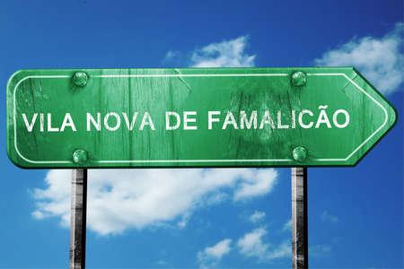 nova: Vila nova de famalicao, 3D rendering, green grunge road sign