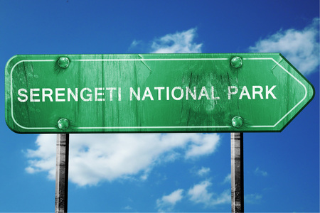 national park: Serengeti national park, 3D rendering, green grunge road sign Stock Photo