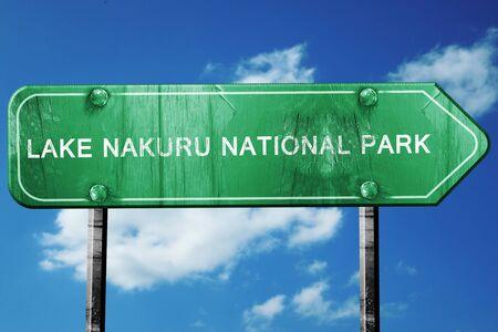 nakuru: Lake nakuru national park, 3D rendering, green grunge road sign
