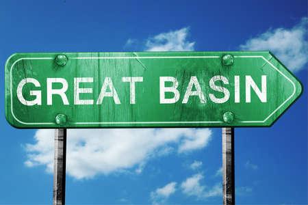 basin: Great basin, 3D rendering, green grunge road sign Stock Photo