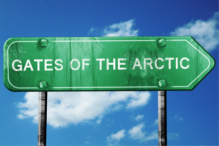 national park: Gates of the arctic, 3D rendering, green grunge road sign