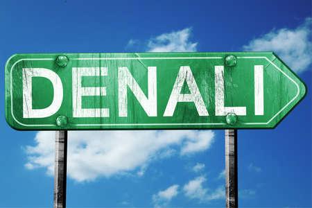 denali: Denali, 3D rendering, green grunge road sign Stock Photo