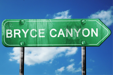 canyon: Bryce canyon, 3D rendering, green grunge road sign