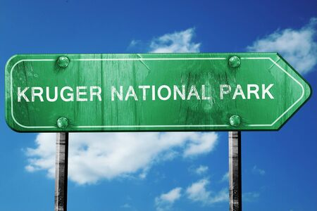 national park: Kruger national park, 3D rendering, green grunge road sign Stock Photo