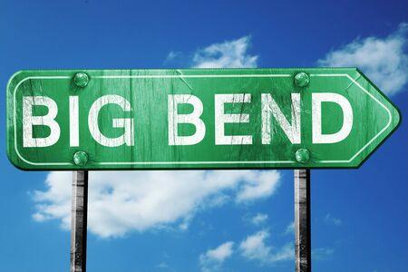 bend: Big bend, 3D rendering, green grunge road sign