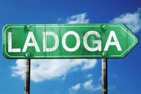 ladoga: Ladoga, 3D rendering, green grunge road sign
