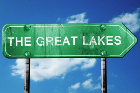 great lakes: The great lakes, 3D rendering, green grunge road sign