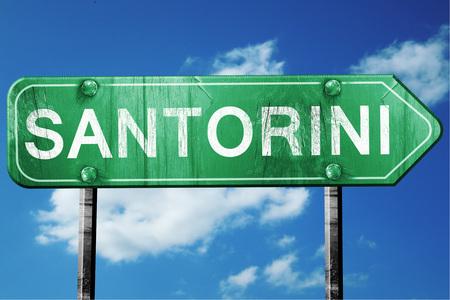 santorini: Santorini, 3D rendering, green grunge road sign