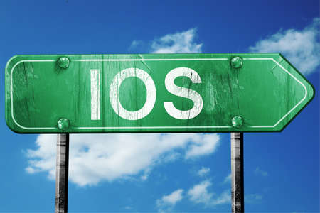 ios: Ios, 3D rendering, green grunge road sign Stock Photo