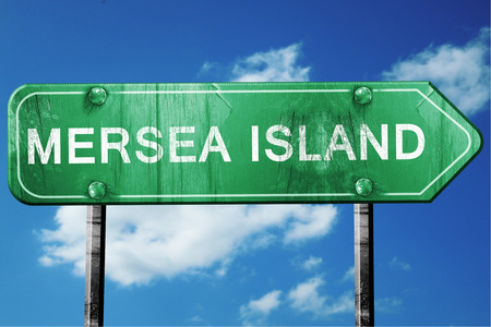 mersea: Mersea island, 3D rendering, green grunge road sign Stock Photo