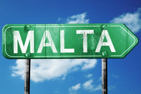 malta: Malta, 3D rendering, green grunge road sign