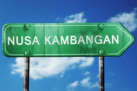 nusa: Nusa kambangan, 3D rendering, green grunge road sign Stock Photo