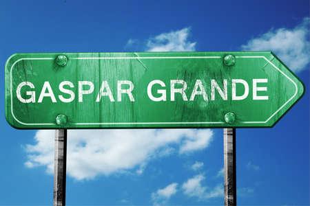 grande: Gaspar grande, 3D rendering, green grunge road sign Stock Photo