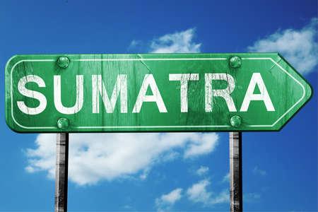 sumatra: Sumatra, 3D rendering, green grunge road sign
