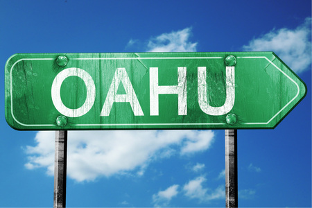 oahu: Oahu, 3D rendering, green grunge road sign