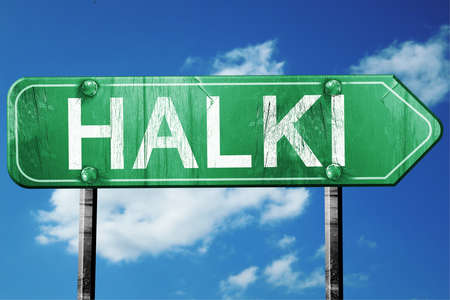 halki: Halki, 3D rendering, green grunge road sign