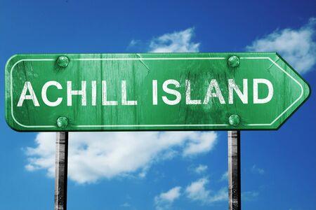 achill: Achill island, 3D rendering, green grunge road sign