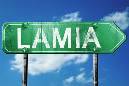 lamia: Lamia, 3D rendering, green grunge road sign