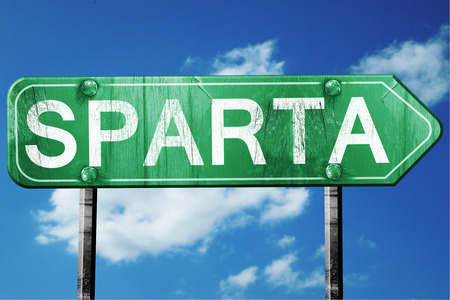 sparta: Sparta, 3D rendering, green grunge road sign Stock Photo