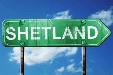 shetland: Shetland, 3D rendering, green grunge road sign Stock Photo