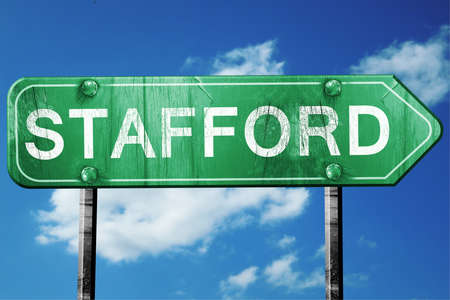 stafford: Stafford, 3D rendering, green grunge road sign Stock Photo