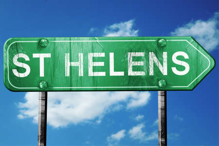 helens: St helens, 3D rendering, green grunge road sign