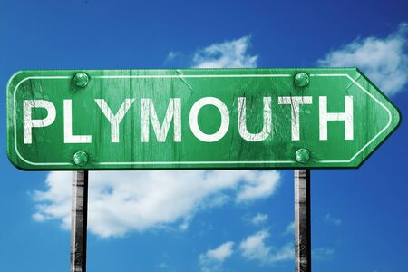 plymouth: Plymouth, 3D rendering, green grunge road sign