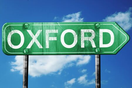 oxford: Oxford, 3D rendering, green grunge road sign
