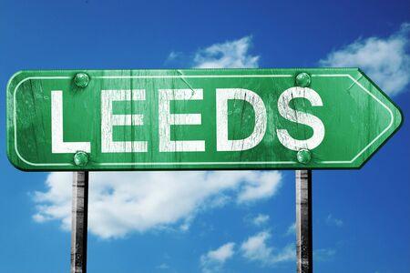 leeds: Leeds, 3D rendering, green grunge road sign