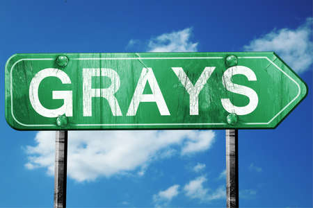 grays: Grays, 3D rendering, green grunge road sign Stock Photo