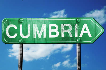cumbria: Cumbria, 3D rendering, green grunge road sign