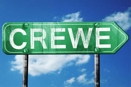 Crewe, 3D rendering, green grunge road sign