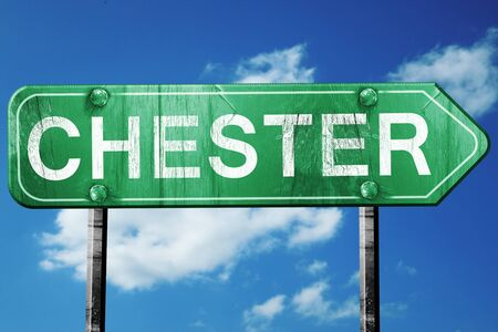 chester: Chester, 3D rendering, green grunge road sign Stock Photo
