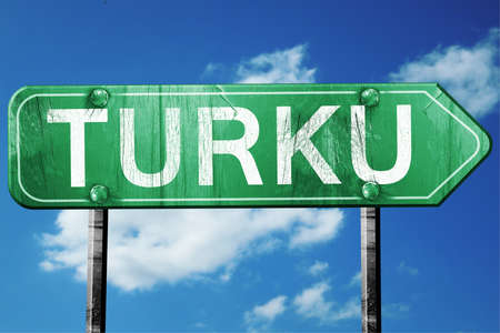turku: Turku, 3D rendering, green grunge road sign