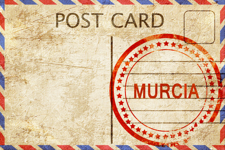 murcia: Murcia, a rubber stamp on a vintage postcard Stock Photo