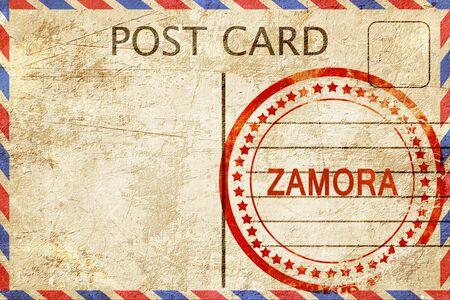 zamora: Zamora, a rubber stamp on a vintage postcard Stock Photo