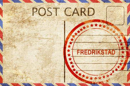 Fredrikstad, a rubber stamp on a vintage postcard