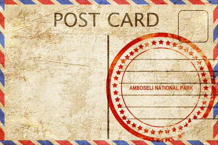 amboseli: Amboseli national park, a rubber stamp on a vintage postcard Stock Photo