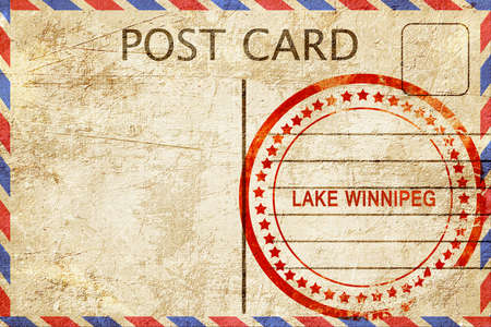 lake winnipeg: Lake winnipeg, a rubber stamp on a vintage postcard Stock Photo