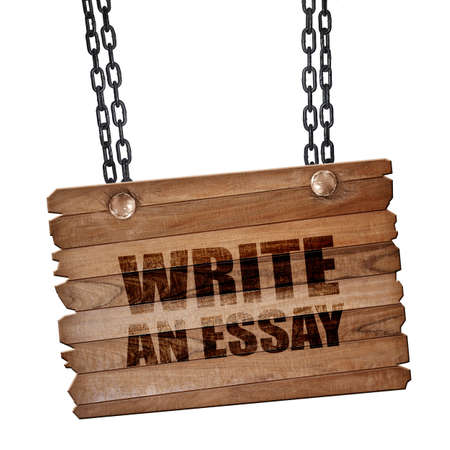 essay: write an essay, 3D rendering, hanging sign on a chain