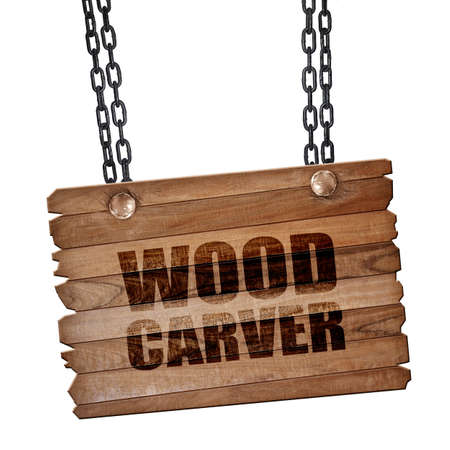 carver: wood carver, 3D rendering, hanging sign on a chain