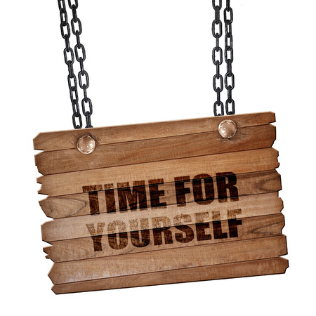 misleading: time for yourself, 3D rendering, hanging sign on a chain Stock Photo