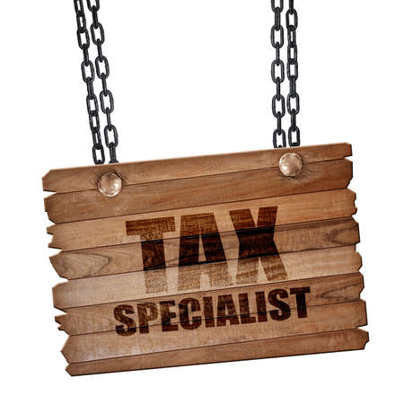 tax tips: tax specialist, 3D rendering, hanging sign on a chain