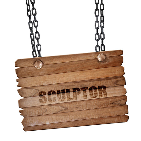 wood carving 3d: sculptor, 3D rendering, hanging sign on a chain Stock Photo