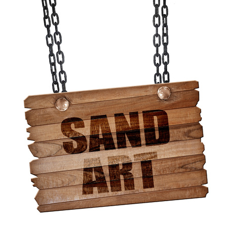 wood craft: sand art, 3D rendering, hanging sign on a chain